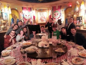On Easter Sunday, by providence, we got the Pope Table at Bucca di Beppo after Mass!